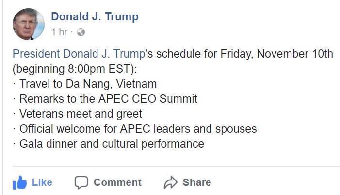 Tổng thống Trump nói về APEC, Đà Nẵng trên Facebook-1