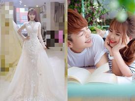 Hé lộ hình ảnh cô dâu Khởi My đi thử váy cưới đính 8.000 viên pha lê