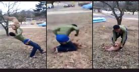 Dog abuse goes viral: School boy throwing a 6-month old Pitbull over his head