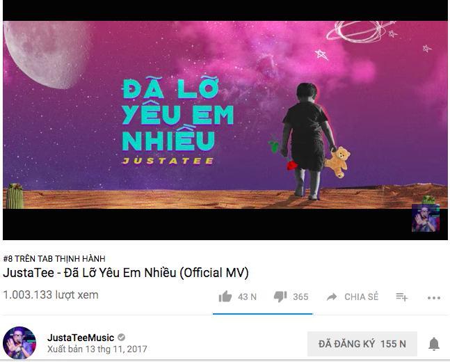 MV Đã lỡ yêu em nhiều của Justatee thoát nghi án đạo nhạc, lọt top 5 trending Youtube-1