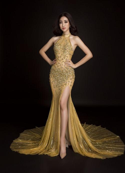 Đầm dạ hội ánh hoàng kim sẽ giúp Đỗ Mỹ Linh toả sáng như Nữ hoàng-1
