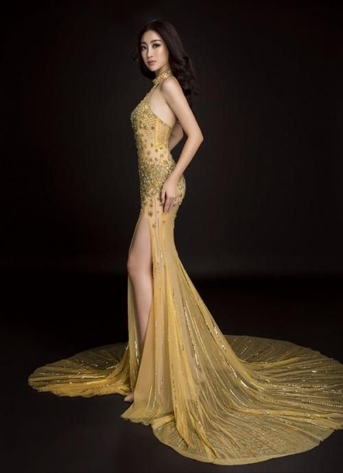 Đầm dạ hội ánh hoàng kim sẽ giúp Đỗ Mỹ Linh toả sáng như Nữ hoàng-2