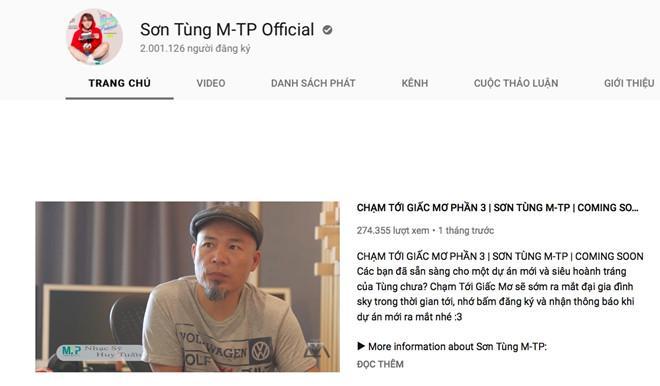 Kênh YouTube của Sơn Tùng cán mốc 2 triệu người theo dõi-1