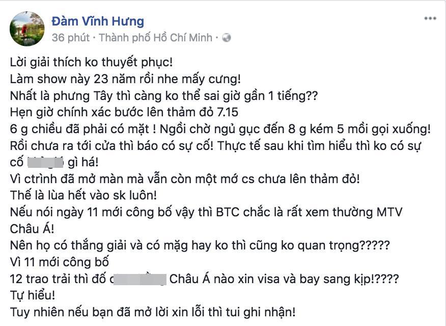 Đàm Vĩnh Hưng đáp trả phản hồi của MTV Việt Nam: Lời giải thích không thuyết phục, nhưng đã xin lỗi thì tôi ghi nhận-1