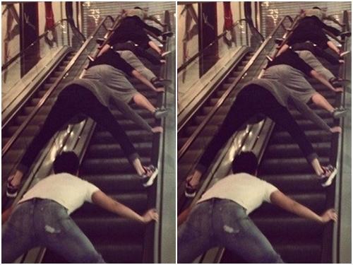 Khi các thanh niên thấy đi thang cuốn quá nhàm chán