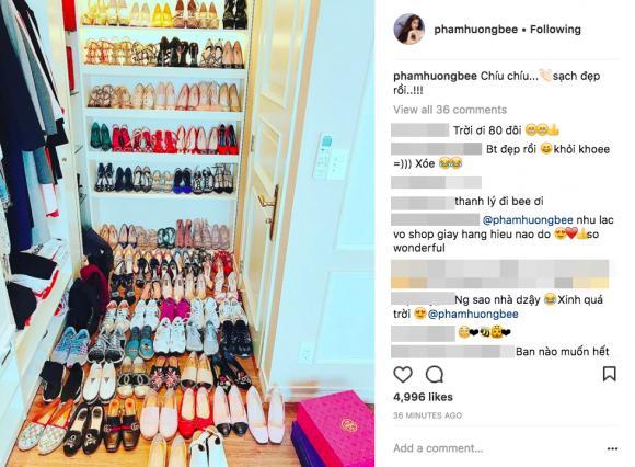 Đến lượt Phạm Hương khoe tủ giày hiệu gần 100 đôi hoành tráng-1