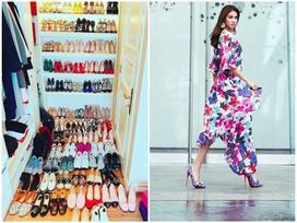Đến lượt Phạm Hương khoe tủ giày hiệu gần 100 đôi hoành tráng