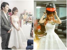 Để hợp với đám cưới siêu motor, Khởi My chọn chiếc váy giản dị thay vì mặc soire lộng lẫy