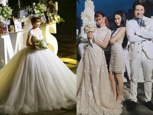 Sánh đôi cùng 'hoàng tử' Kelvin Khánh, 'công chúa' Khởi My thay liên tục 2 váy cưới lộng lẫy