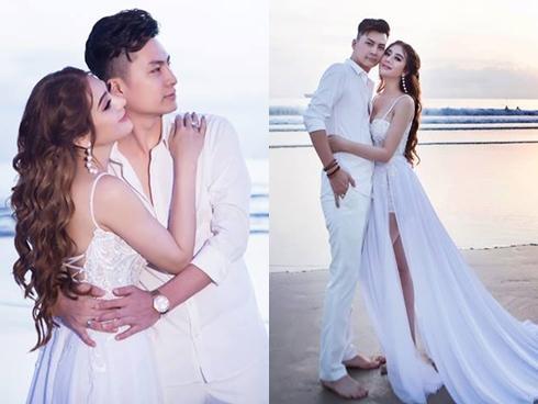 Ngắm bộ ảnh cưới lãng mạn trên biển của Lâm Khánh Chi và chồng trẻ