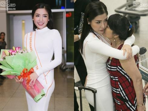 Á hậu Khánh Phương bịn rịn chia tay bố mẹ lên đường đi thi Hoa hậu Siêu quốc gia