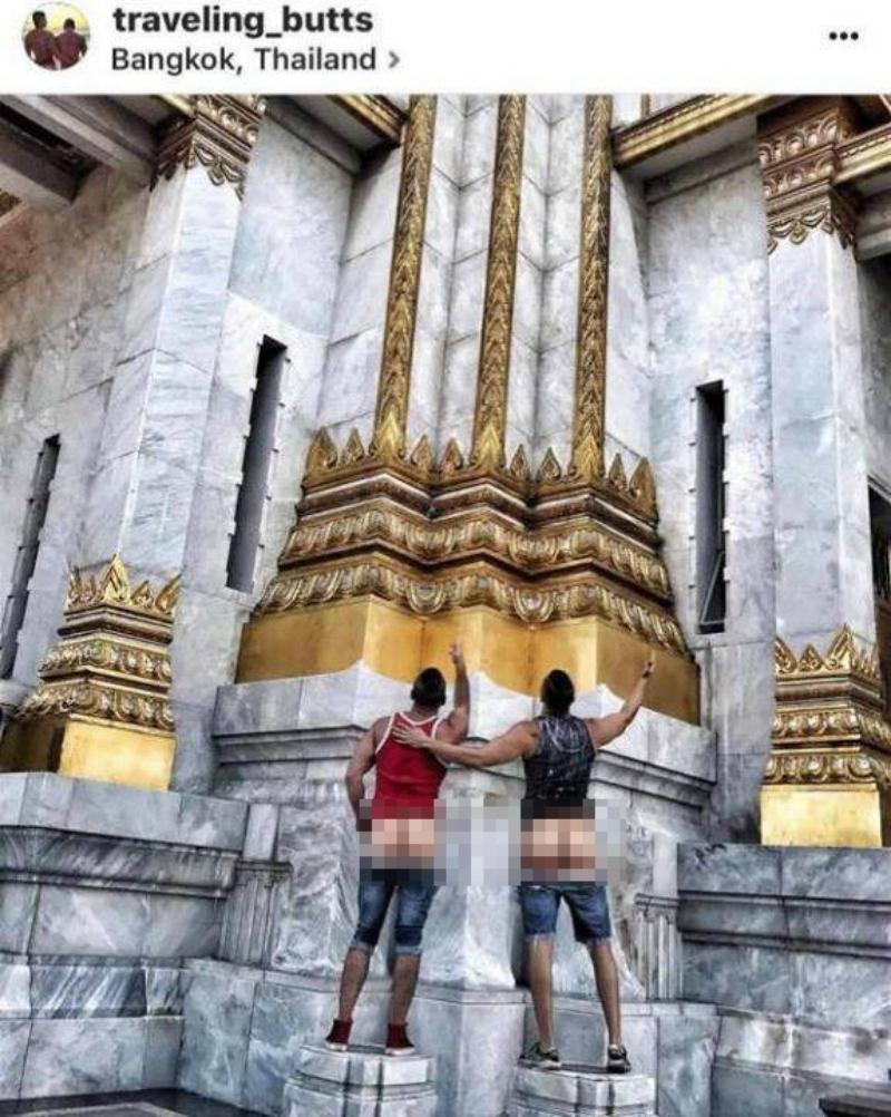 Chụp ảnh khoe mông ở đền thờ Thái Lan, cặp đôi blogger du lịch người Mỹ bị dân địa phương dọa giết-3