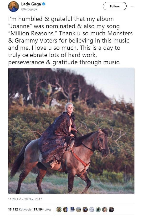 Lady Gaga, Lana Del Rey và loạt sao phản ứng trước đề cử Grammy 2018-1