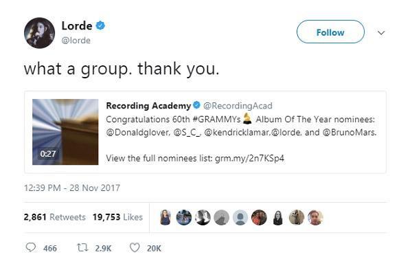 Lady Gaga, Lana Del Rey và loạt sao phản ứng trước đề cử Grammy 2018-3