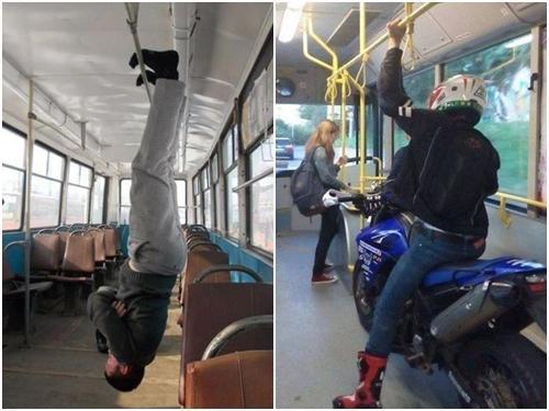 Những hình ảnh 'không ngờ' xuất hiện trên xe buýt