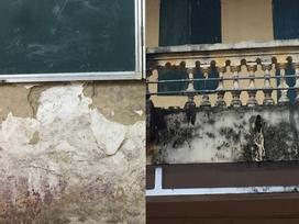 Hình ảnh xập xệ của ngôi trường rơi lan can khiến 13 học sinh nhập viện