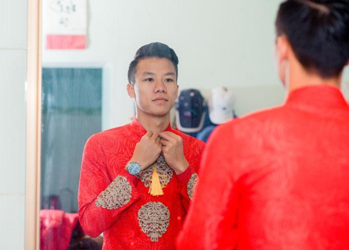 Hot boy Quế Ngọc Hải và vợ mặc màu đỏ trong lễ ăn hỏi-5