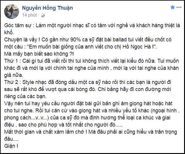 Nguyễn Hồng Thuận than khổ khi 90% ca sĩ đặt hàng đều yêu cầu phải giống như viết cho Hà Hồ-2