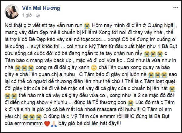 Bị rách váy trước giờ diễn, Văn Mai Hương cảm kích khi được bà bụt Mỹ Tâm cứu nguy-1