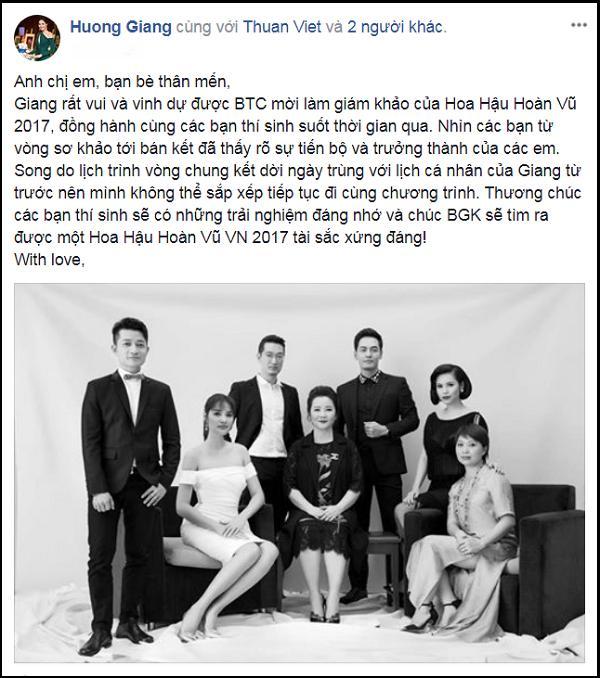 Sau các thí sinh, đến lượt Hương Giang rút khỏi ghế nóng Hoa hậu Hoàn vũ Việt Nam 2017-1