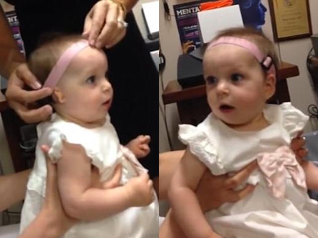 Tan chảy khoảnh khắc bé gái lần đầu được nghe tiếng mẹ gọi qua máy trợ thính-1