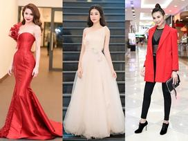 Cùng diện tông đỏ nhưng đối nghịch style, Hồ Ngọc Hà - Thanh Hằng nổi nhất thảm đỏ