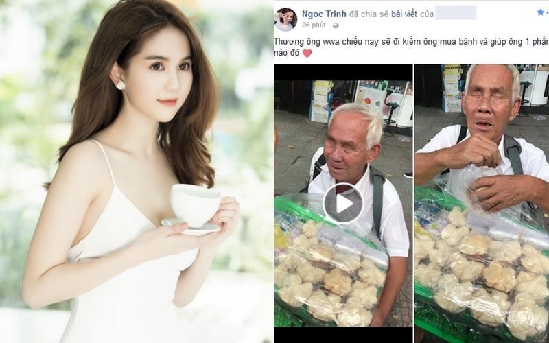 Ngọc Trinh hào phóng tặng tiền ông lão mù bán bánh trên vỉa hè Sài Gòn-1