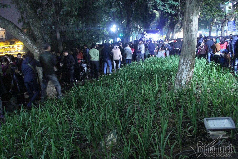 Vườn hoa hồ Gươm bị san phẳng sau đêm giao thừa-1