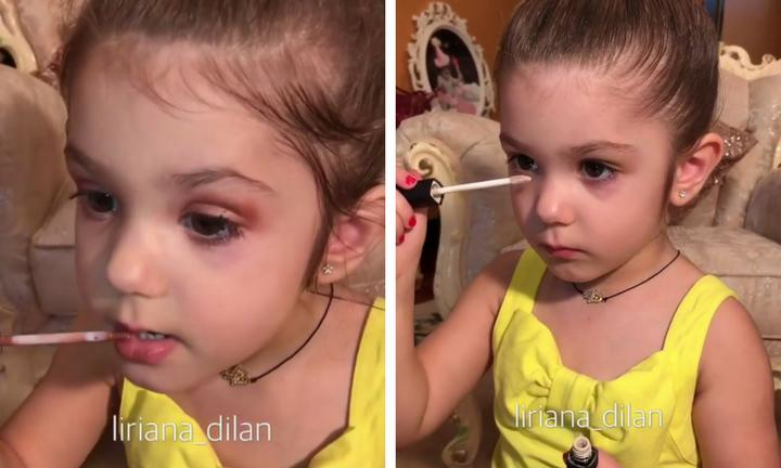 Bé gái 3 tuổi trang điểm chuyên nghiệp gây tranh cãi trên mạng xã hội-1