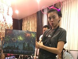 Tin sao Việt: Bất ngờ với tài năng vẽ tranh của 'đả nữ' Ngô Thanh Vân