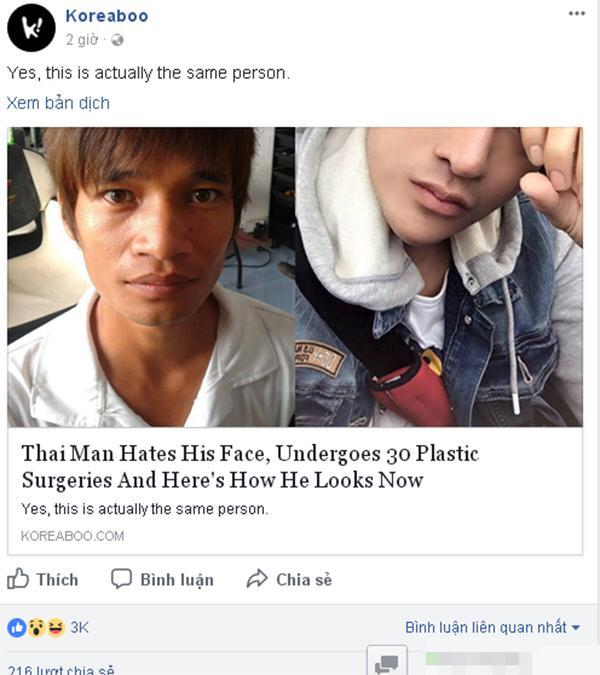 Trang tin Hàn Quốc nhầm Lệ Rơi là chàng trai Thái Lan trước khi phẫu thuật thẩm mỹ-1