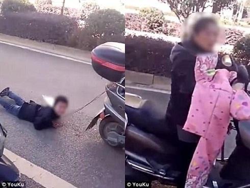 Phẫn nộ hình phạt của người mẹ: Trói tay con vào xe máy rồi kéo lê trên đường