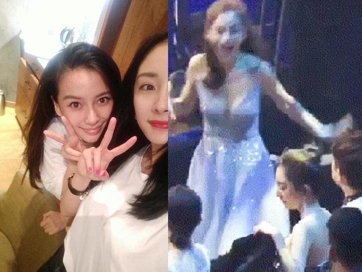 Bức ảnh HOT nhất mạng xã hội Hoa ngữ: Angela Baby trượt chân ngã, người chị Dương Mịch ngồi cười 'không ngậm nổi miệng'