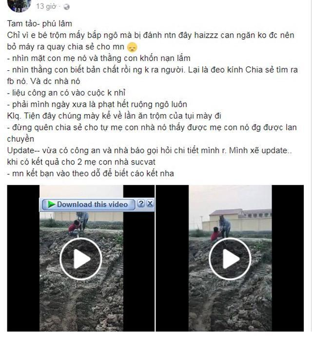 Cậu bé bẻ trộm ngô bị người phụ nữ cùng con trai đánh liên tiếp vào mặt và người-1