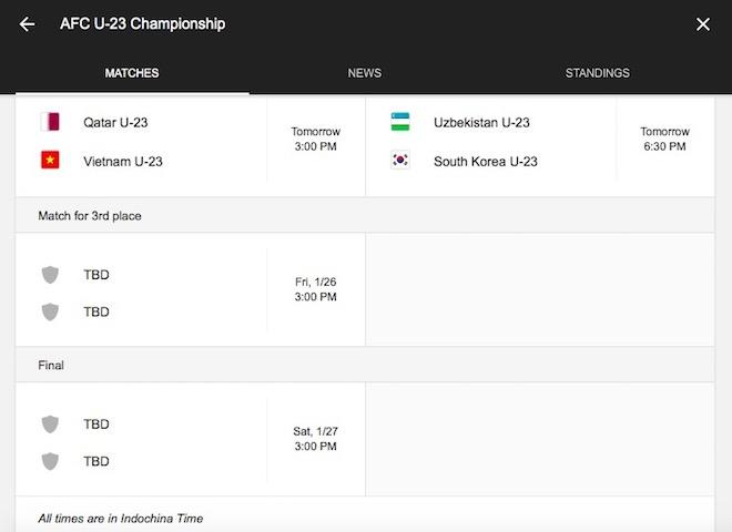Google đã sửa sai giờ thi đấu của U23 Việt Nam - U23 Qatar-1