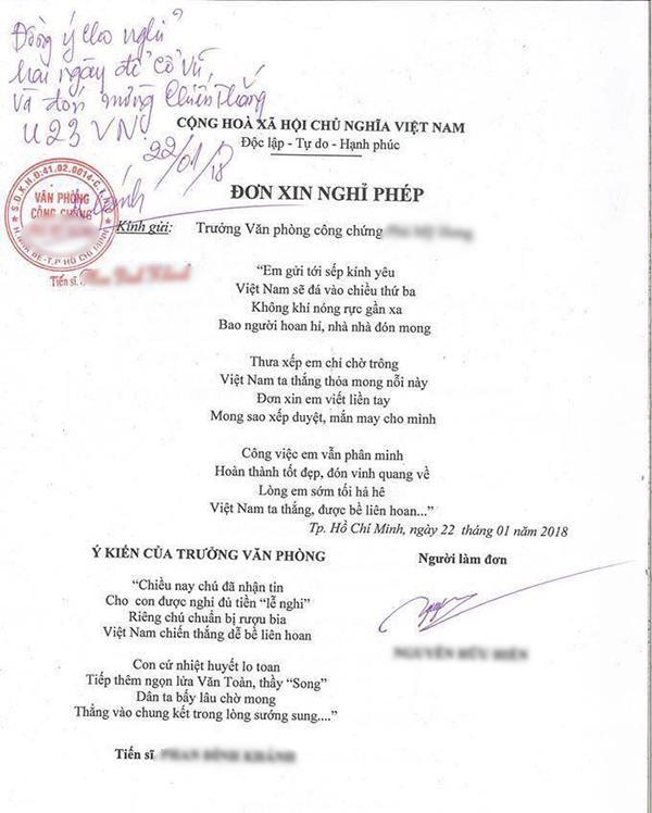 Viết đơn xin phép bằng thơ, nhân viên được sếp cho nghỉ hẳn 2 ngày cổ vũ U23 Việt Nam-1