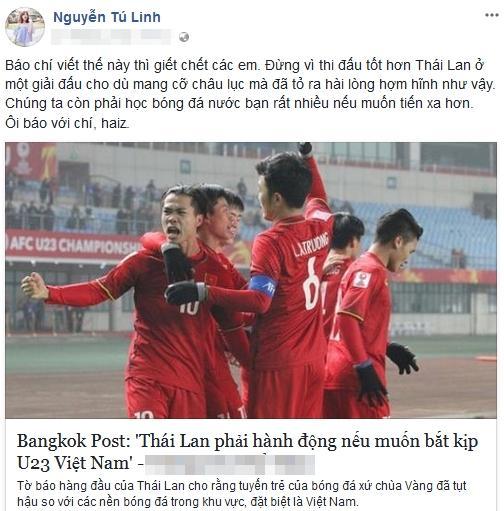 Hot girl - hot boy Việt: Tú Linh bày tỏ quan điểm khi báo chí tung hô U23 Việt Nam quá đà-1