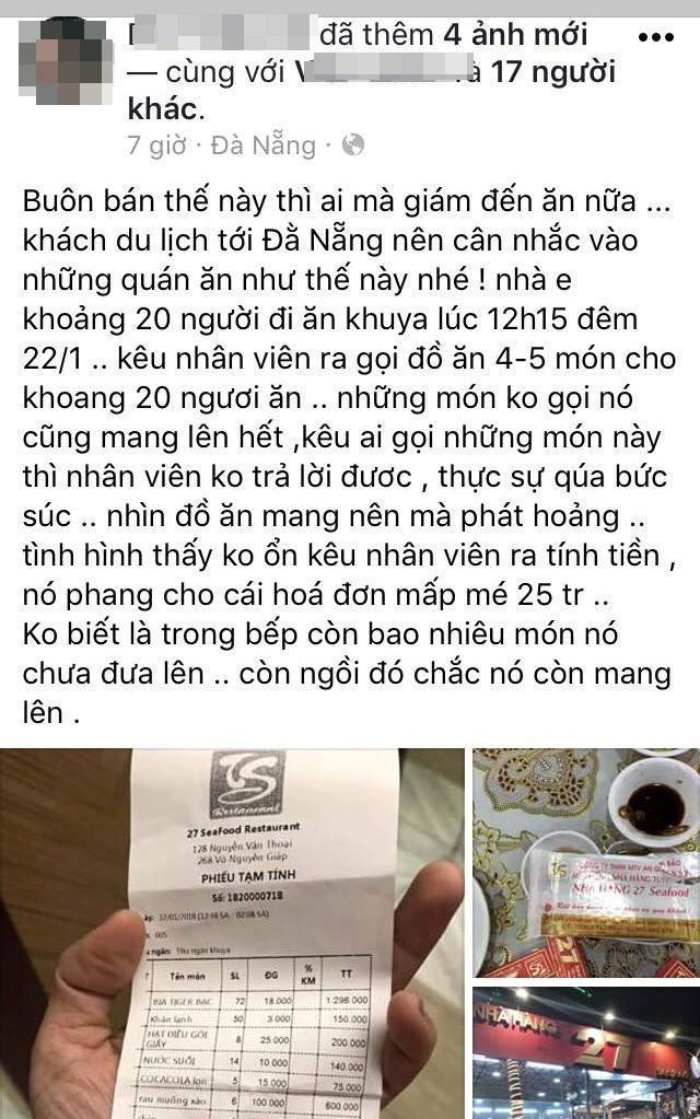 Ê kíp của ca sĩ Quang Lê tố bị chặt chém bữa ăn khuya gần 25 triệu đồng, nhà hàng ở Đà Nẵng nói gì?-1