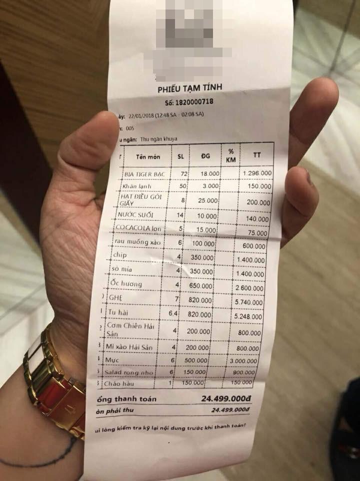 Ê kíp của ca sĩ Quang Lê tố bị chặt chém bữa ăn khuya gần 25 triệu đồng, nhà hàng ở Đà Nẵng nói gì?-2