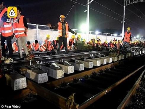 Chóng mặt: Công nhân Trung Quốc xây đường sắt mới chỉ trong 9 tiếng
