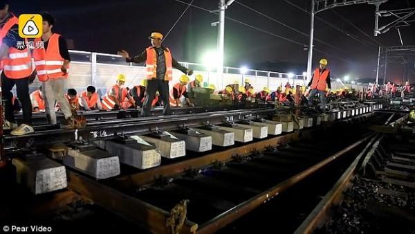 Chóng mặt: Công nhân Trung Quốc xây đường sắt mới chỉ trong 9 tiếng-3