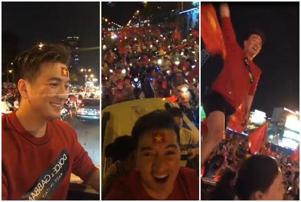 Đàm Vĩnh Hưng mặc quần short, nhảy lên nóc xe ăn mừng chiến thắng của U23 Việt Nam-3