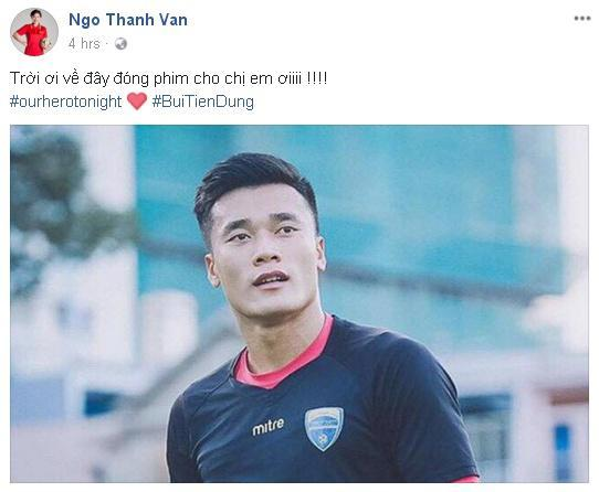U23 Việt Nam chiến thắng, Ngô Thanh Vân quyết tâm mời thủ môn Tiến Dũng đóng phim-1