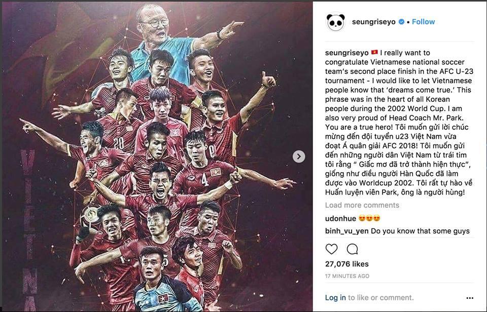 Big Bang Seungri gửi lời chúc mừng chiến thắng tới tuyển U23 Việt Nam bằng tiếng Việt-1