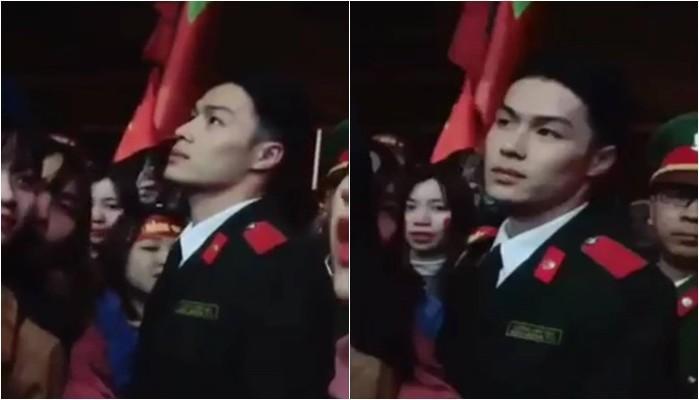 Dân mạng truy lùng danh tính chàng cảnh sát điển trai trong lễ đón U23 tại Nghệ An-1