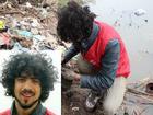 Chàng trai Tây nhặt rác và túi nilon làm sạch môi trường trong ngày Tết ông Công ông Táo