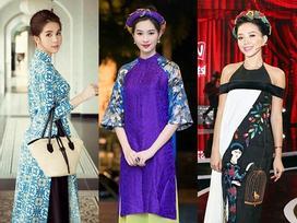 Sáng mồng 1 Tết, học lỏm sao Việt cách diện áo dài chuẩn xu hướng đi xông nhà lấy may