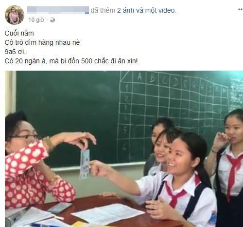 Cô giáo Sài Gòn mừng tuổi học trò kiểu thả tiền sang chảnh-1