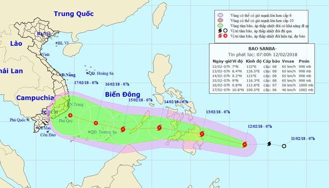Bão mạnh cấp 8 hướng thẳng vào Biển Đông-1