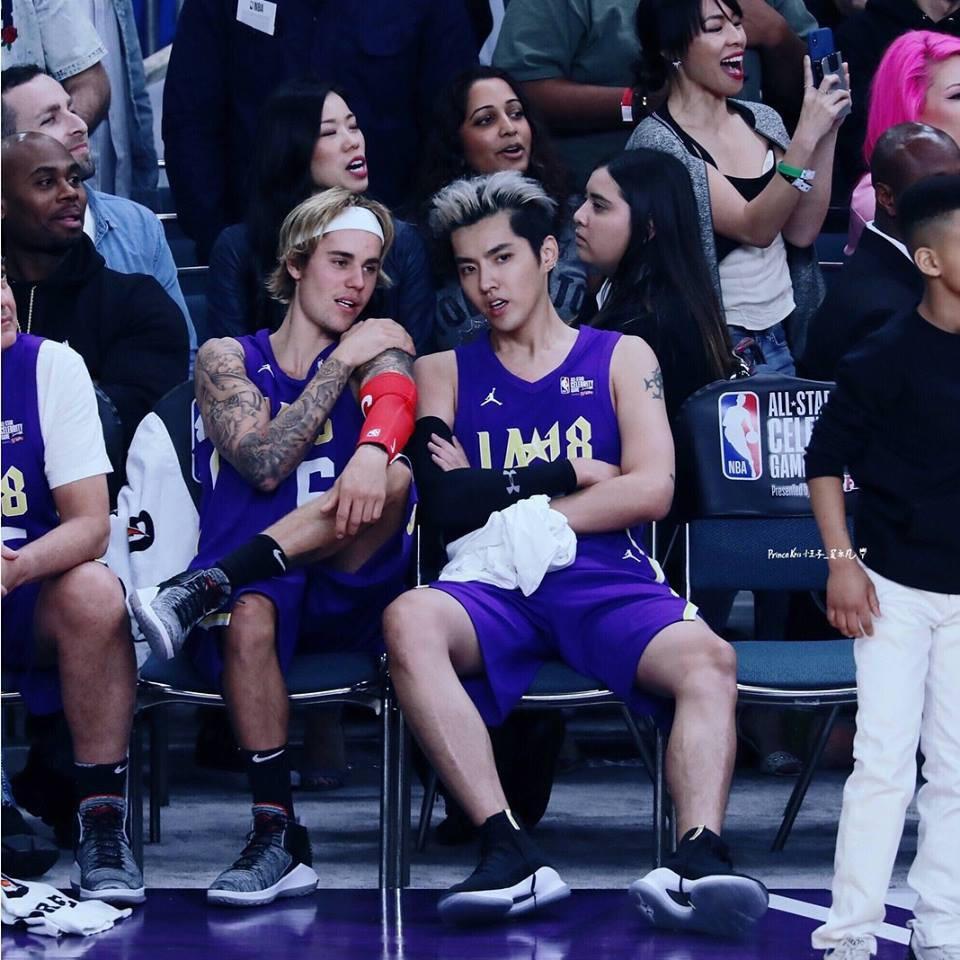 Justin Bieber và Đường Tăng Ngô Diệc Phàm thi đấu bóng rổ ở Mỹ-1